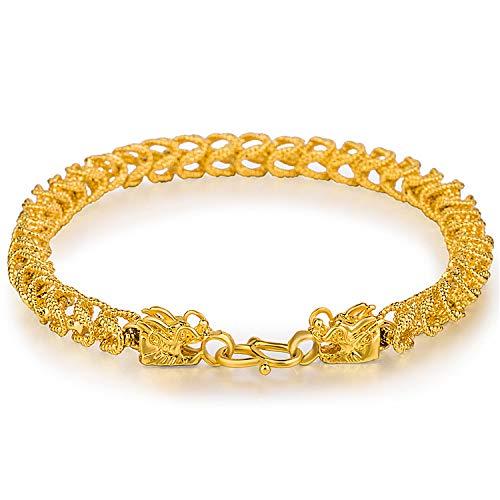 Pulsera de grifo hecha a mano en tejido esmerilado chapado en oro, pulsera para hombre dominador vintage con joyas bañadas en oro