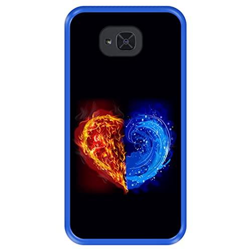 Hapdey Funda Azul para [ Bq Aquaris U2 - U2 Lite ] diseño [ Fuego y Agua, Corazon ] Carcasa Silicona Flexible TPU
