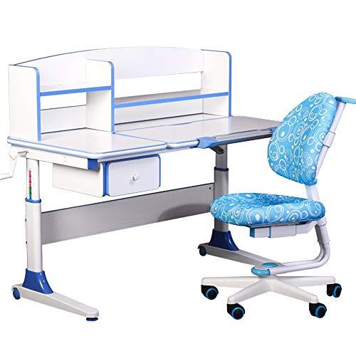 Vobajf Kinder Tisch und Stuhl Set Schreibtisch Stuhl Set Multifunktionaler Schreibtisch und Stuhl Set School Student Schreibtisch Buchständer HV Tisch & Stuhl Sets (Farbe : Blau)