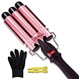 Efflemour 3 Barrels Curling Iron Wand with LCD Display, 1 Inch Ceramic Tourmaline Hair Curler Waving Styling Tool with Heat-Insulated Glove and Hairpins (Dual Voltage)