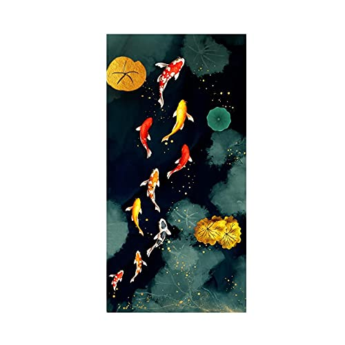 Dreamy Swimming Carp Goldfish Golden Feng Shui Fish Lotus Canvas Painting Wall Art Poster Portico...