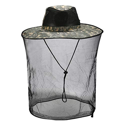 Yowablo Outdoor Moskito Resistance Hat Bug Bug Biene Insektennetz Mesh Head Face Protector Cap (1Stck,B)