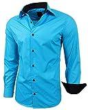 Baxboy - Camisa de manga larga para hombre, de corte ajustado, fácil de planchar, para trajes, trabajo, bodas, tiempo libre, R-44 turquesa M