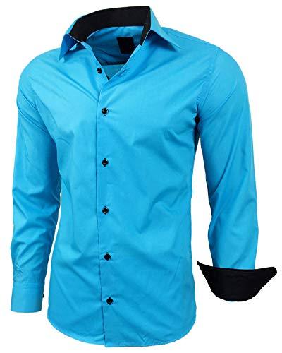 Baxboy Herren-Hemd Slim-Fit Bügelleicht Für Anzug, Business, Hochzeit, Freizeit - Langarm Hemden für Männer Langarmhemd R-44, Farbe:Türkis, Größe:M
