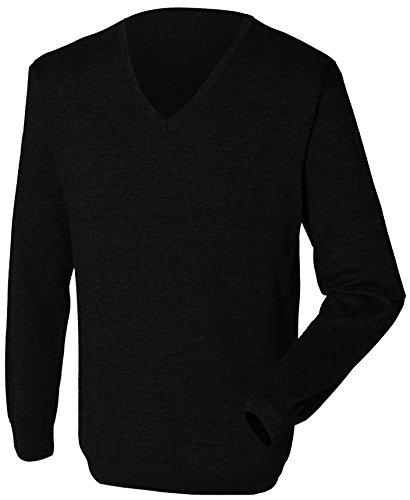 Henbury Men's Lightweight V Neck Sweater Black L
