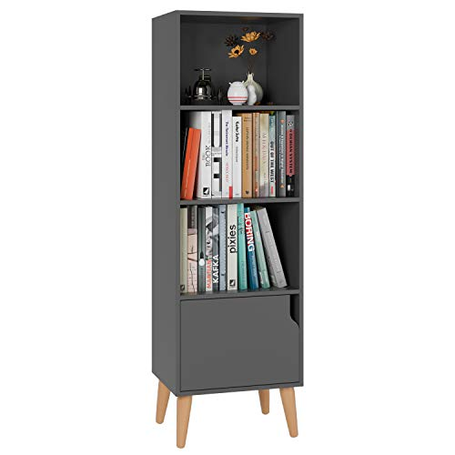 Homfa 4 Tier Floor Cabinet, Free Standing Wooden Display Bookshelf with 4 Legs and 1 Door, Side Corner Storage Cabinet Decor Furniture for Home Office, Gray