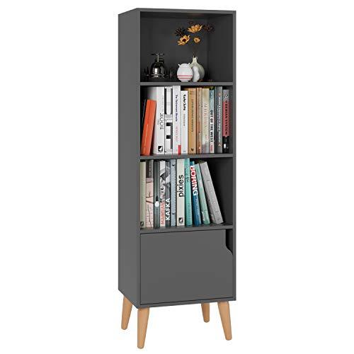 Homfa 4 Tier Floor Cabinet, Free Standing Wooden Display Bookshelf with 4 Legs and 1 Door, Side Corner Storage Cabinet Decor Furniture for Home Office, Gray
