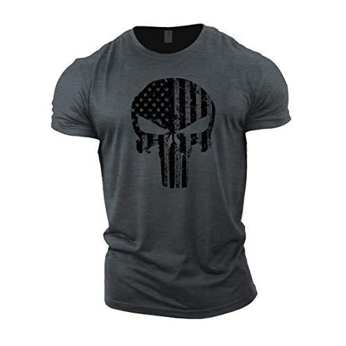 Gymtier, Bodybuilding-T-Shirt für Herren – Schädel mit US-Flagge – Trainings-Top Gr. M, grau