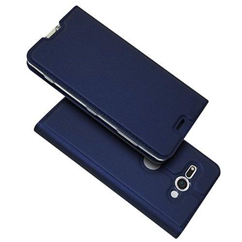 SEEYA Coque pour Sony Xperia XA2 Compact Rabat Magnétique, Ultra Mince Fine Housse Portefeuille Coque avec Support Aimant Fermeture Porte Carte Etui Folio pour Xperia XA2 Compact Bleu