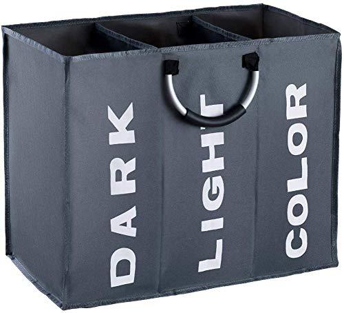 chenyu Tvättkorg 3 fack vikbar tvättkorg sortering ljus mörk tvättkorg 3 fack brun barnkammare barn baby tvättbox väska 60x32x49CM Mörkgrått
