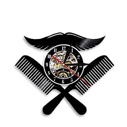 BBZZL Barbershop Logo Disco de Vinilo Reloj de Pared peluquería Reloj de Pared diseño Moderno Bigote Peine Arte decoración de la Pared Sin LED