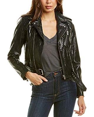 IRO Womens Moji Leather Moto Jacket, 34, Black