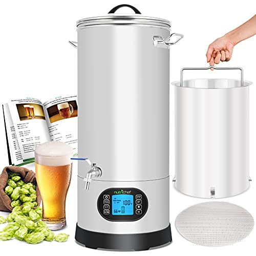 NutriChef PKBRKTL150 All-In-One Home Beer Brewing Mash and Boil Device 5-Piece Maker Machine Set 9...