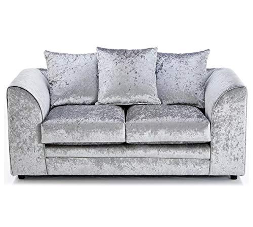 HHI 2 Seater Silver Crushed Velvet Sofa 001