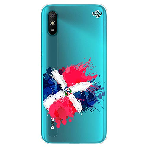 BJJ SHOP Funda Slim Transparente para [ Xiaomi Redmi 9A ], Carcasa de Silicona Flexible TPU, diseño : Bandera Republica Dominicana, Pintura de brocha