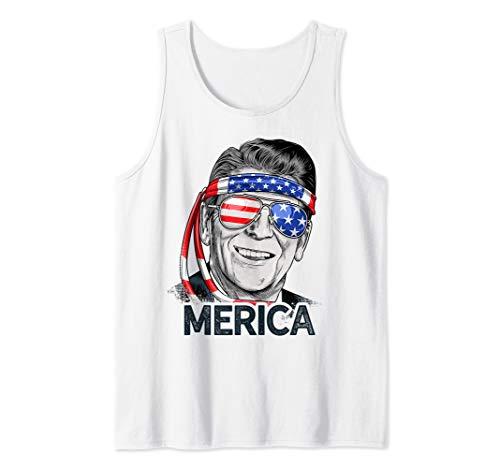 Reagan Ronald Merica 4th of July Men US President USA Flag Tank Top