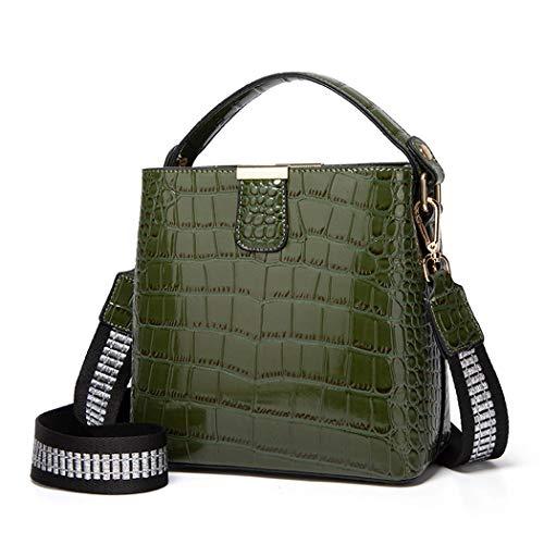 BUKESIYI Mujer Bolsos Bandolera Vestir Casual Bolsos de Mano Convertible PU Cuero Piel CCES77224 Verde