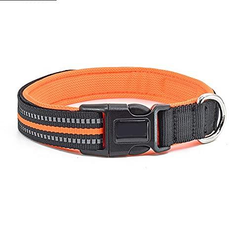 Collar para perros de nailon reflectante, collares de seguridad ajustables, apto para animales de pequeño y mediano tamaño naranja, talla L