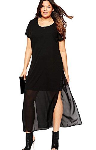 YALI XL-Kleid mit Rundhalsausschnitt, kurzärmelig auf beiden Seiten der Gabel mit Reißverschluss, Chiffon, Doppelkleid, Schwarz, XXXL