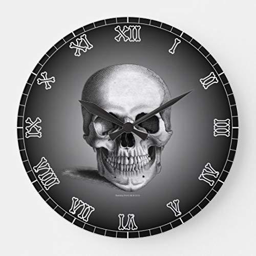 AmyyEden Wanduhr Totenkopf Knochen Skelett Zahlen Gothic Modern Große Holz Wanduhr 30,5 cm