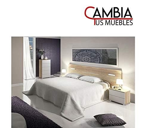 CAMBIA TUS MUEBLES - Cabezal Dormitorio, Mora, cabecero para Cama de Matrimonio con Luces LED en Color Roble Cambrian