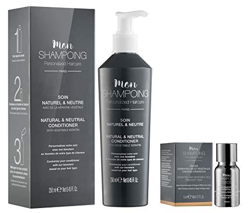 Mon Shampoing - Duo Après Shampoing Naturel - Cheveux Fins - Sans Paraben/Sans Silicone - Huiles Essentielles & Végétales Fleur Oranger, Sauge, Raisin - convient pour Lissage/Extension. 250 ml + 5 ml