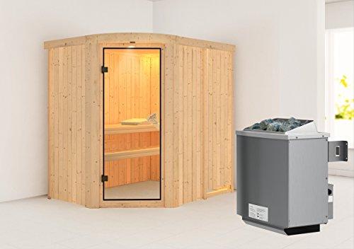 Lavea - Karibu Sauna inkl. 8-kW-Ofen - mit Rundbogen -