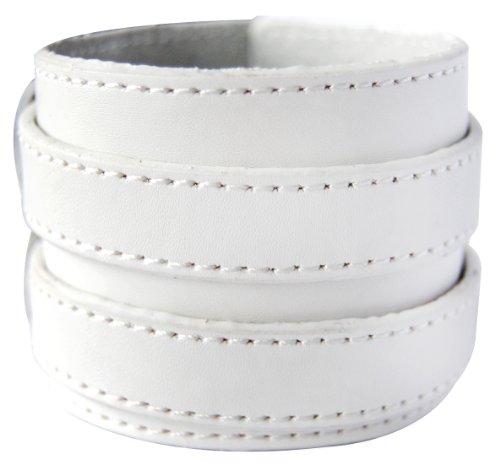 axy LAB1-13 LEDERARMBAND BREIT Serie! ECHT Leder Armband Leather Bracelet! Surferarmband Herren Schmuck (Weiss/White)