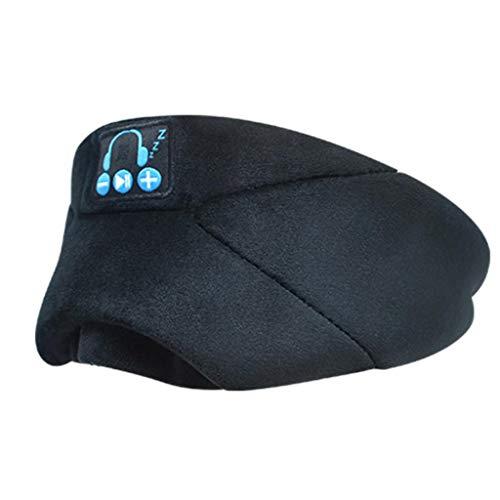Xniral Schlafbrille Smart Wireless Musik Goggles Nap Brille Bluetooth Schlaf Augenbinde(Schwarz)