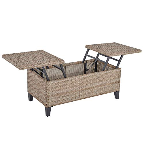 Outsunny Rattan Wicker Coffee Side Table with...