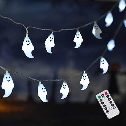 ILLUMINEW 25 LED Halloween Ghost String Lights, 8 Modes Fairy String Lights, Battery Operated Halloween Lights with Remote, Waterproof Indoor Outdoor Party, Patio, Garden, Halloween Decoration