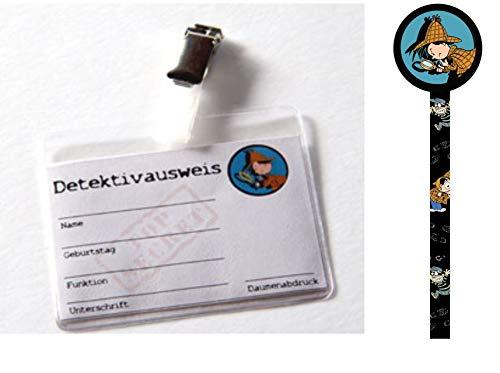 10 x Detektivausweis Detektiv Flo mit Clip und Hülle + 1 Bleistift Detektiv