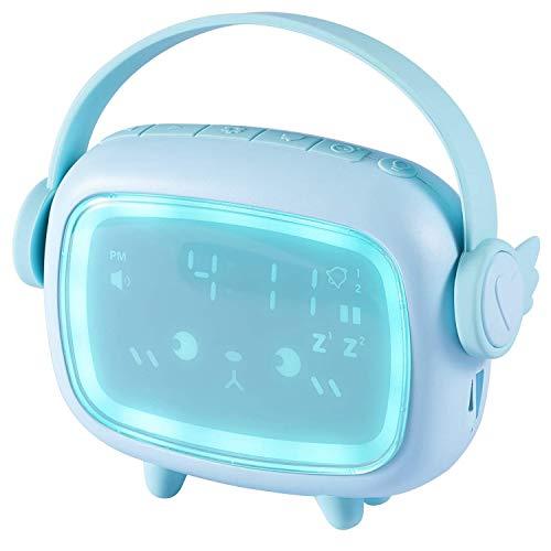 Reloj despertador para niños, con luz nocturna con control de voz y función de repetición, visualización automática de hora, fecha, temperatura, reloj despertador digital para dormitorio (Azul)