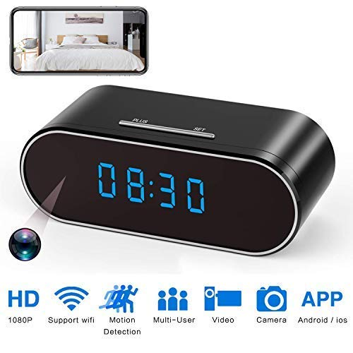 Spy Camera WiFi Hidden Camera Clock 1080P with Night Vision/Motion Detection/Loop Recording, Phone APP & PC Software Remote Monitored Mini Nanny Cam 140 Degree Angle for Home Security Monitoring