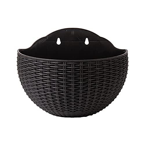 AchidistviQ Cesta de jardín para plantas de jardín, media redonda, para interior y exterior, valla de pared, balcón, color negro