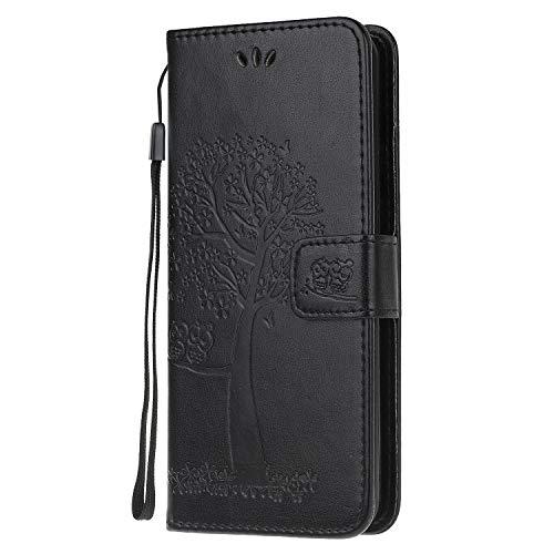 Compatible con Xiaomi Poco F3, funda de piel sintética, billetera con cera de aceite, tapa magnética, desmontable, con ranuras para tarjetas de crédito, para Xiaomi Poco F3, color negro