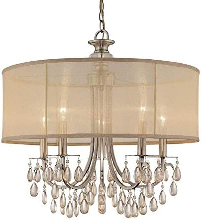 lowest Hampton outlet sale high quality 5 Light Drum Shade Brass Chandelier outlet online sale