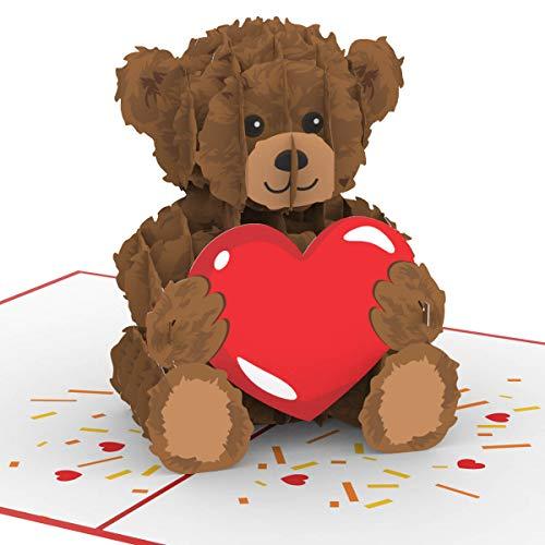 """PaperCrush® Pop-Up Karte """"Teddy mit Herz"""" - Süße 3D Geburtstagskarte für Kinder, Frau oder Freundin - Liebeskarte mit Teddybär zum Hochzeitstag oder Geburtstag, Ich Liebe Dich Karte für Sie"""