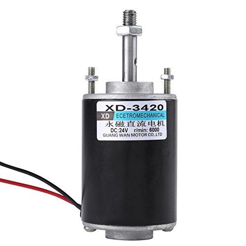 TOPINCN Motor de Imán Permanente DC 12 / 24V 30W de Alta Velocidad CW/CCW Motor de Engranaje Eléctrico Reversible de Bajo Ruido para Generador de Bricolaje(24V 6000 RPM)
