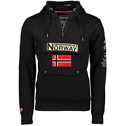 Geographical Norway Gymclass - Sudadera con Capucha para Hombre, Negro, S
