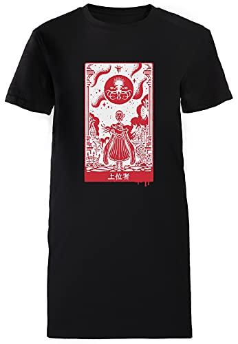 Überlegen Einsen T-Shirt Damen Lang Kleid Schwarz T-Shirt Women's Long Dress Black