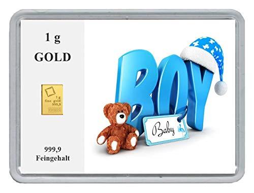 New Edition 1g Goldbarren 999,9 Feingold in Motivbox