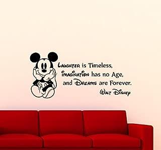 Mickey Mouse Wall Decal Walt Disney Quote Nursery Custom Cartoon Disney Vinyl Sticker Home Nursery Room Interior Art Decor Kids Girl Boy Room Mural Waterproof Vinyl Sticker 84ct