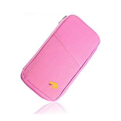 EgBert Honana HN-PB7 Tragbare multifunktionale Reisekarte Ticket Passport Holder Wallet Purse Aufbewahrungstasche - Pink