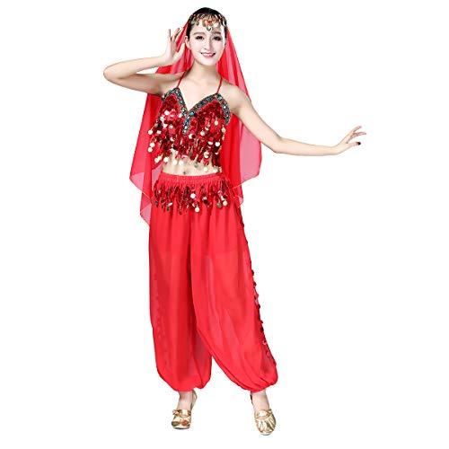 IMEKIS Donna Costume da Danza del Ventre Bollywood Abbigliamento da Ballo Indiano Prestazioni Professionali Abiti da Ballo Halloween Carnevale Suit Adulti Chiffon Top + Pantaloni 3 Pezzi Set Rosso