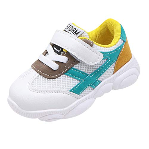 Toddler Baby Boys Girls Walking Shoes Sneaker 1-6 Years Old Kids Mesh Petchwork Breathable Running Casual Shoes (12-18 Months, Yellow)