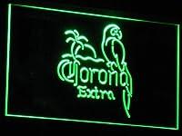 Corona Extra - Parrot Beer Open Bar LED看板 ネオンサイン ライト 電飾 広告用標識 W30cm x H20cm グリーン