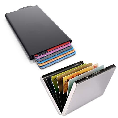 2 Stück Kreditkartenetui Kartenetui mit RFID NFC Schutz, Lachesis Visitenkartenetui 6 Fächer(Silber) + Pop-up Kreditkartenhülle(Schwarz), RFID Blocker Kreditkarten Etui, EC Karten Box für Herren Damen