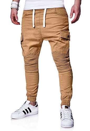 behype. Herren Cargo Biker Jogger-Jeans Hose mit Taschen Slim-Fit S-XXL 80-6722 Beige M
