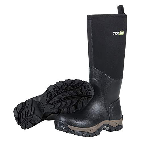 TIDEWE Rubber Neoprene Boots Men and Women, Waterproof Durable Insulated Neoprene Boot, Rain Boot Hunting Boot Arctic Outdoor Boot Men Size 8 Black